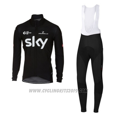 2017 Cycling Jersey Sky Deep Black Long Sleeve and Bib Tight