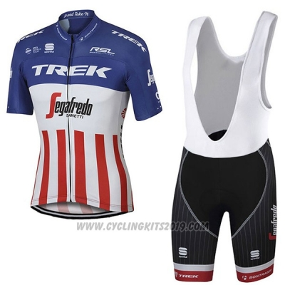 2017 Cycling Jersey Trek Segafredo Campione The United States Short Sleeve and Bib Short