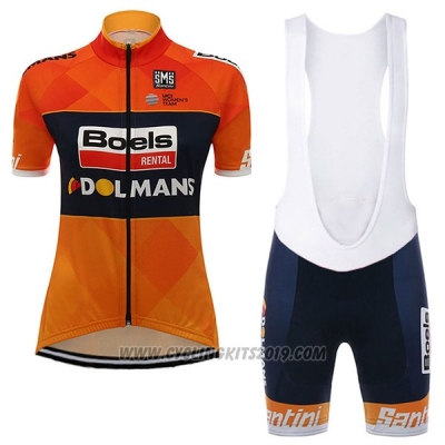 2017 Cycling Jersey Women Damen Boels Dolmans Orange Short Sleeve and Bib Short