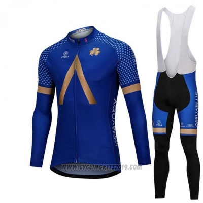 2018 Cycling Jersey Aqua Bluee Sport Blue Long Sleeve and Bib Tight