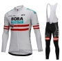 2018 Cycling Jersey Bora Campione Austria White Long Sleeve and Bib Tight