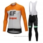 2018 Cycling Jersey Cannondale Drapac White and Orange Long Sleeve and Bib Tight