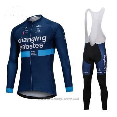 c2da8f944 2018 Cycling Jersey Changing Diabetes Blue Long Sleeve and Bib Tight