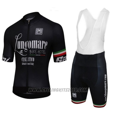 2018 Cycling Jersey Lungomare Black Short Sleeve and Salopette