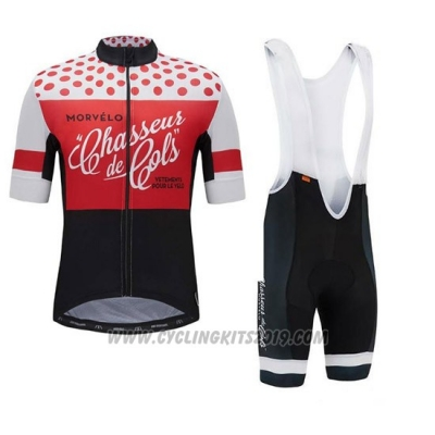 2018 Cycling Jersey Morvelo Red and Black Short Sleeve and Bib Short