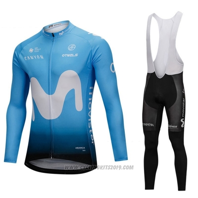 2018 Cycling Jersey Movistar Blue Long Sleeve and Bib Tight