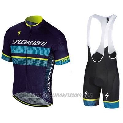 2018 Cycling Jersey Specialized Blue Yellow White Short Sleeve and Bib Short