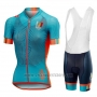2018 Cycling Jersey Women Castelli Maratona Dles Dolomites-Enel Blue Orange Short Sleeve and Bib Short