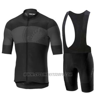 2019 Cycling Jersey Castelli Ruota Black Gray Short Sleeve and Bib Short