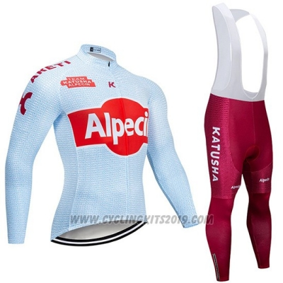2019 Cycling Jersey Katusha Alpecin Light Blue Red Long Sleeve and Bib Tight