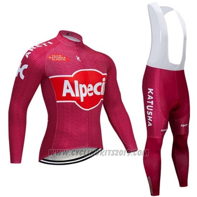 2019 Cycling Jersey Katusha Alpecin Red Long Sleeve and Bib Tight