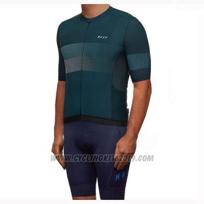 2019 Cycling Jersey Maap Aether Dark Green Short Sleeve and Bib Short