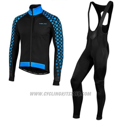 2019 Cycling Jersey Nalini CRIT 3l 2.0 Black Blue Long Sleeve and Bib Tight