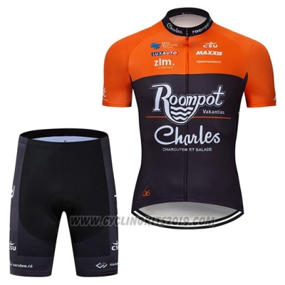 2019 Cycling Jersey Roompot Charles Orange Black Short Sleeve and Bib Short