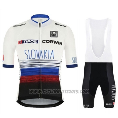 2019 Cycling Jersey Slowakeis White Blue Black Short Sleeve and Bib Short