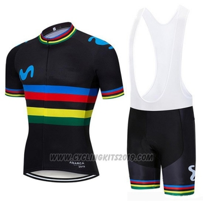 2019 Cycling Jersey UCI World Champion Movistar Black Short Sleeve and Bib Short