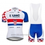 2019 Cycling Jersey UHC White Red Blue Short Sleeve and Bib Short