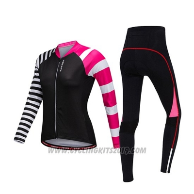 2019 Cycling Jersey Women Wosawe Black White Pink Long Sleeve and Bib Tight