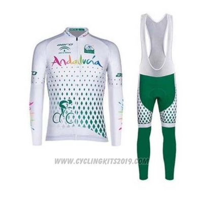 2020 Cycling Jersey Andalucia White Green Long Sleeve and Bib Tight
