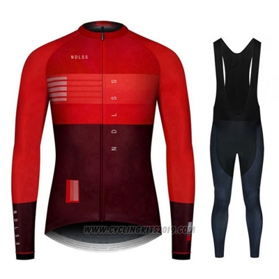 2020 Cycling Jersey NDLSS Dark Red Long Sleeve and Bib Tight