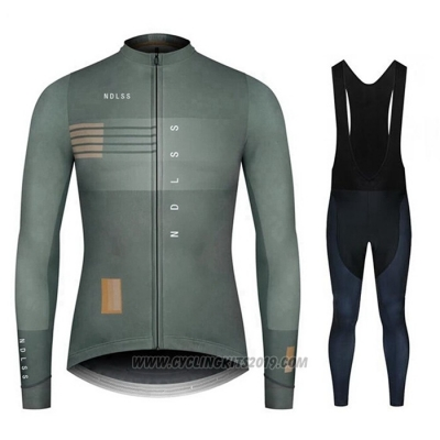 2020 Cycling Jersey NDLSS Gray Long Sleeve and Bib Tight