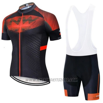 2020 Cycling Jersey Northwave Black Orange Short Sleeve and Bib Short