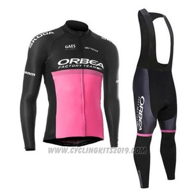 2020 Cycling Jersey Orbea Black Pink Long Sleeve and Bib Tight