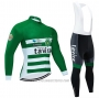 2020 Cycling Jersey Tavira White Green Long Sleeve and Bib Tight
