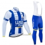 2020 Cycling Jersey W52-FC Porto White Blue Long Sleeve and Bib Tight