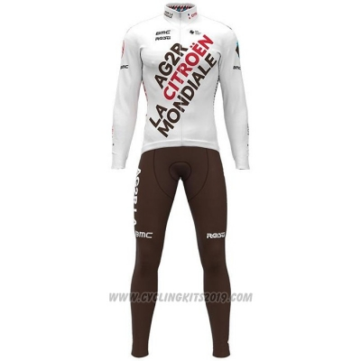 2021 Cycling Jersey Ag2r La Mondiale White Long Sleeve and Bib Tight