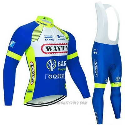 2021 Cycling Jersey Wanty-gobert Cycling Team Blue White Yellow Long Sleeve and Bib Tight