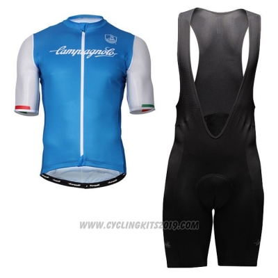 Cycling Jersey Campagnolo Iridio Blue White Short Sleeve and Bib Short