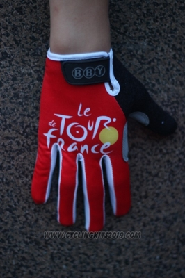 Tour De France Full Finger Gloves Cycling Red