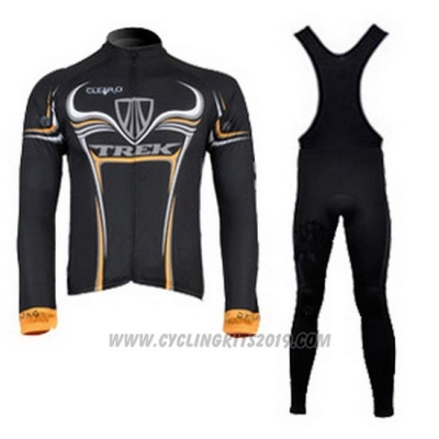 2009 Cycling Jersey Trek Black and Yellow Long Sleeve and Bib Tight