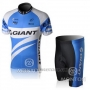 2010 Cycling Jersey Giant White and Sky Blue Short Sleeve and Bib Short