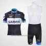 2011 Cycling Jersey Garmin Cervelo White and Black Short Sleeve and Bib Short