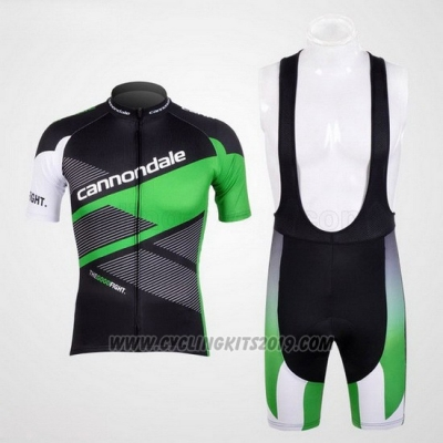 2012 Cycling Jersey Cannondale Black and Green Short Sleeve and Bib Short