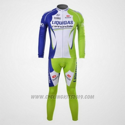 2012 Cycling Jersey Liquigas Cannondale White and Green Long Sleeve and Bib Tight