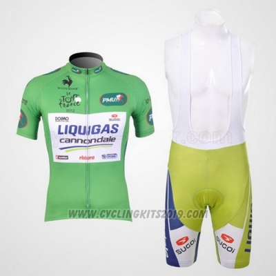 2012 Cycling Jersey Liquigas Cannondale White and Green Short Sleeve and Bib Short