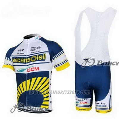 2012 Cycling Jersey Vacansoleil Yellow and Blue Short Sleeve and Bib Short