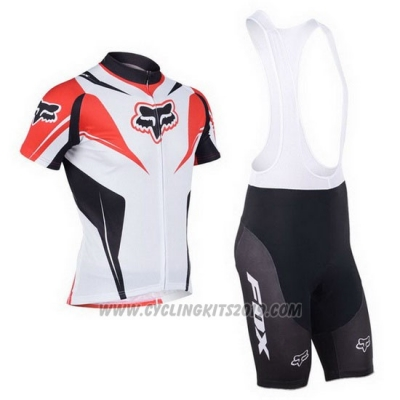 2013 Cycling Jersey Fox White and Red Short Sleeve and Bib Short