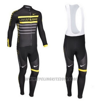 2013 Cycling Jersey Livestrong Black and Yellow Long Sleeve and Bib Tight