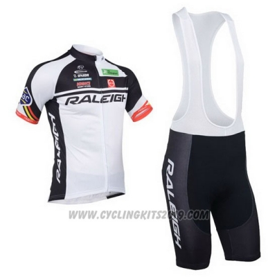 2013 Cycling Jersey Raleigh White and Black Short Sleeve and Bib Short