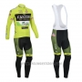2013 Cycling Jersey Vini Fantini Green and Black Long Sleeve and Bib Tight