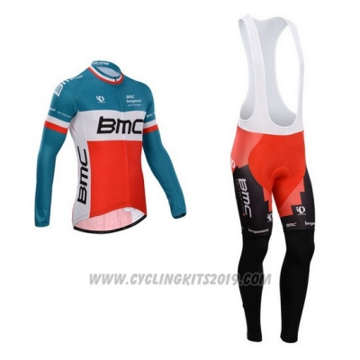 2014 Cycling Jersey BMC Campione Italy Blue and Orange Long Sleeve and Bib Tight