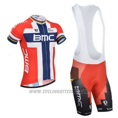2014 Cycling Jersey BMC Campione Norway Blue and Red Short Sleeve and Bib Short