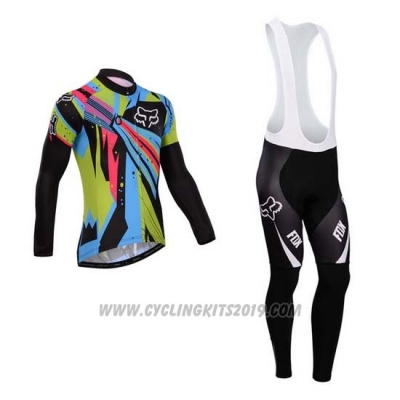 2014 Cycling Jersey Fox Sky Blue and Black Long Sleeve and Bib Tight