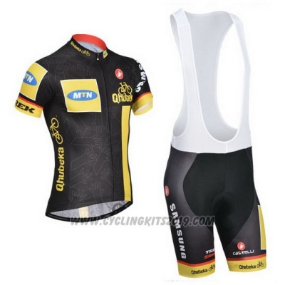 2014 Cycling Jersey MTN Black and Yellow Short Sleeve and Bib Short