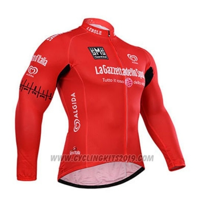 2015 Cycling Jersey Giro D'italy Red Long Sleeve and Bib Tight