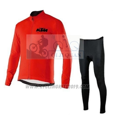 2015 Cycling Jersey Ktm Red Long Sleeve and Salopette